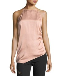 Haute Hippie I Wished For You Halter Asymmetric Satin Top Blush