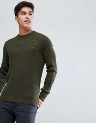 Celio Military Jumper In Chunky Rib Khaki Green