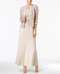 Alex Evenings Petite Sequined Lace Satin Gown And Jacket Taupe