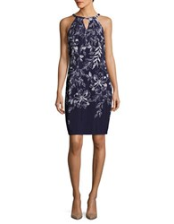 Ivanka Trump Floral Keyhole Halter Dress Navy