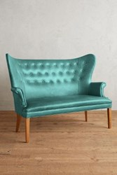 Anthropologie Premium Leather Wingback Bench Caribbean