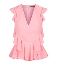 Alexander Mcqueen Ruffle V Neck Top Female Pink