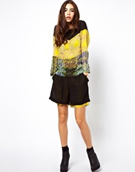 Asos Africa Floral Printed Shorts With Sheer Layer Multi