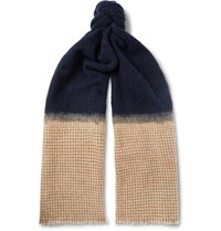 Brunello Cucinelli Boucle And Houndstooth Cashmere Blend Scarf Midnight Blue