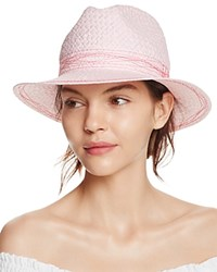 Aqua Straw Fedora With Contrast Stitching 100 Exclusive Pink Red
