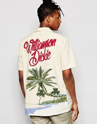 Dickies Shirt With Palm Tree Back Print In Regular Fit Ecru Beige