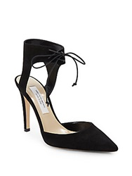 Saks Fifth Avenue Made In Italy Elin Suede Point Toe Ankle Cuff Pump Black