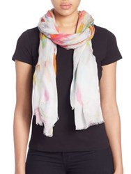 Tilo Graphic Cotton And Silk Scarf White Multi