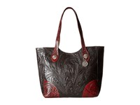 American West Annie's Secret Collection Large Zip Top Tote Chocolate Distressed Crimson Tote Handbags Brown