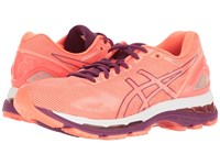 Asics Gel Nimbus 19 Flash Coral Dark Purple White Women's Running Shoes Orange