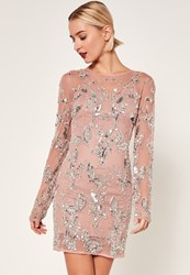 Missguided Petite Exclusive Premium Pink Embellished Mesh Dress