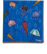 Drakes Drake's Umbrella Print Pocket Square Blue