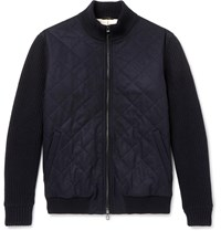 Loro Piana Ryan Panelled Cashmere Bomber Jacket Blue