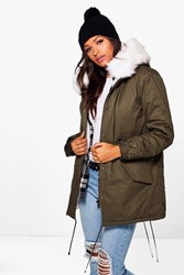 Boohoo Olivia Faux Fur Lined Hooded Parka White