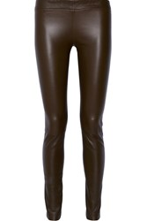 The Row Moto Stretch Leather Leggings Army Green Brown