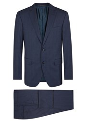 Pal Zileri Navy Checked Wool Blend Suit