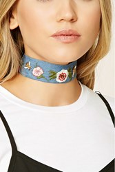 Forever 21 Floral Embroidered Choker Blue Red
