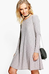 Boohoo Rib Knit Swing Dress Mocha
