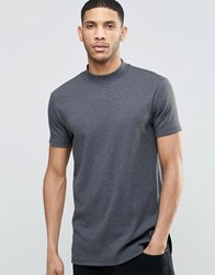 Asos Extreme Muscle Longline T Shirt With Turtleneck In Rib In Charcoal Marl Charcoal Marl