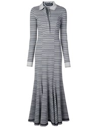 Y Project Long Striped Polo Neck Dress Blue