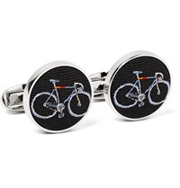 Paul Smith Silver Tone Bicycle Embroidered Silk Faille Cufflinks Midnight Blue