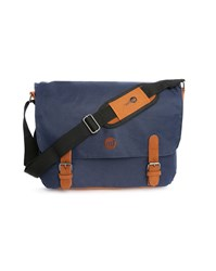 Mi Pac Navy Messenger Bag With Camel Leather Details 14 L