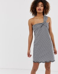 Pepe Jeans Chelo Gingham One Shoulder Dress Black