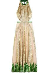 Temperley London Sycamore Embroidered Sequined Chiffon And Tulle Halterneck Gown Cream