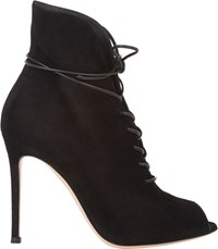 Gianvito Rossi Suede Jane Ankle Booties Black