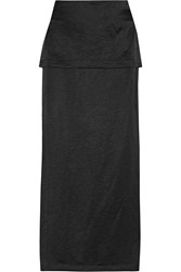 Zero Mariacornejo Diba Layered Satin Maxi Skirt Black