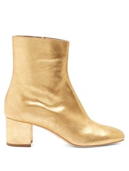 Brother Vellies Kaya Block Heel Leather Ankle Boots Gold