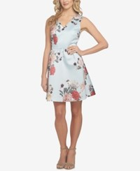 Cece Rose Floral Print Fit And Flare Dress Pale Blue Floral