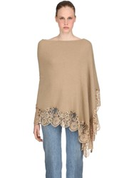 Pink Memories Wool Blend Knit And Lace Poncho Beige