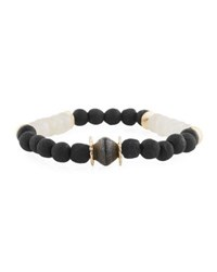 Akola Paper Moonstone Beaded Bracelet Black White