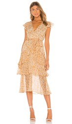 Minkpink Lana Midi Dress In Yellow. Gold And White