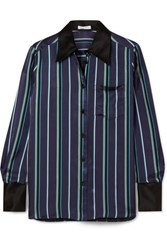 Bella Freud Little Prince Striped Satin Shirt Navy
