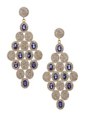 Gold Vermeil Diamond And Blue Sapphire Chandelier Earrings