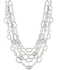 Jenny Packham Silver Tone Crystal Four Row Collar Necklace 16 2.75 Extender