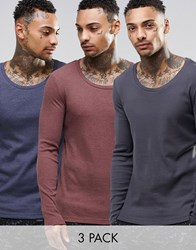 Asos Rib Extreme Muscle Long Sleeve T Shirt With Scoop Neck 3 Pack Save 23 Multi