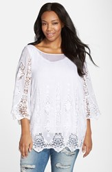 Plus Size Women's Xcvi 'Kensington' Embroidered Lace Cotton And Silk Voile Tunic White