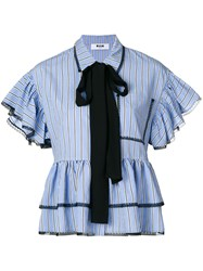 Msgm Pinstripe Ruffled Blouse Blue