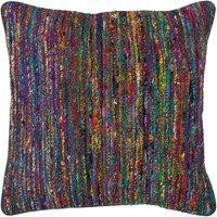 Chandra Textured Contemporary Silk Fabric Pillow Multi 18 Inch Various