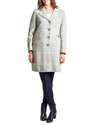 Four Seasons Single Breasted Check Coat Pale Grey
