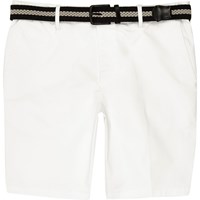 River Island White Belted Slim Fit Chino Shorts