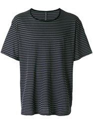 Attachment Loose Fit Stripe T Shirt Grey