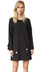 Bcbgmaxazria Ruffle Pocket Long Sleeve Dress Black Bare Pink