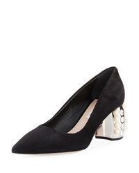 Miu Miu Jewel Pearlescent Heel Pump Black