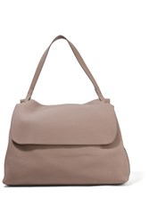 The Row Top Handle 14 Textured Leather Shoulder Bag Mushroom