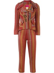 Christian Lacroix Vintage Striped Two Piece Suit Red