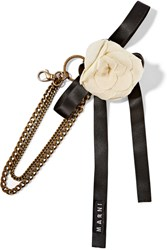 Marni Ribbon And Brass Floral Keychain Black